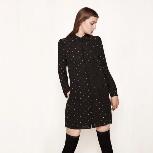 Maje Dresses & Skirts - Maje Black - Star Embroidered Shirt Dress - 2: